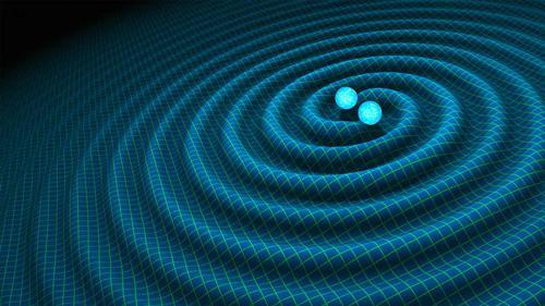 中性子星が互いを回る連星による重力波放出のイメージ図(NASA/R. Hurt/Caltech-JPL提供)