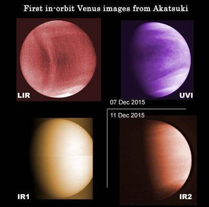 4つのカメラによる金星疑似カラー画像。紫外線〜赤外線の単色の画像を波長の長短に合わせて着色。紫外線カメラUVI:紫色、1μmカメラIR1:橙黄色、2μmカメラIR2:橙色、中間赤外線カメラLIR:赤色。(提供:JAXA)