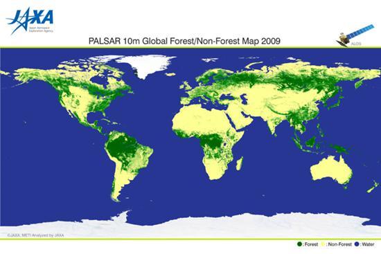 「だいち」レーダーによるデータで作成された森林分布図。緑が森林で黄色が非森林地帯