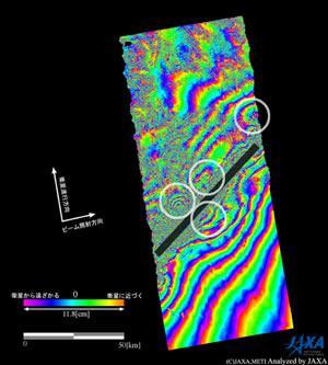断層(黒棒)近傍の拡大図。南北に目玉状の変動縞(しま)が分布している(白丸で囲んだ部分)