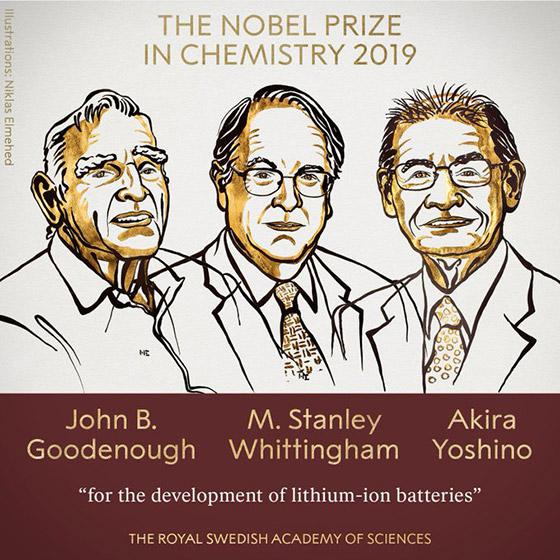化学受賞者のイラスト。左からジョン・グッドイナフ氏、スタンリー・ウィッティンガム氏、吉野彰氏(ノーベル財団提供)