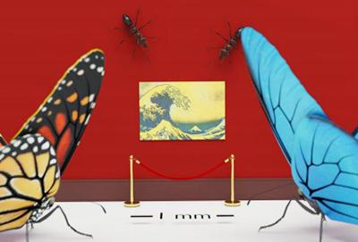 新技術による印刷例のイメージ画像。中央は葛飾北斎の「神奈川沖浪裏」(提供・iCeMS)