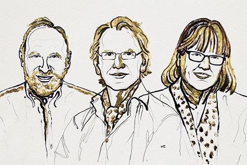 左からアーサー・アシュキン博士、ジェラール・ムル博士、ドナ・ストリックランド博士(提供 ノーベル財団)
