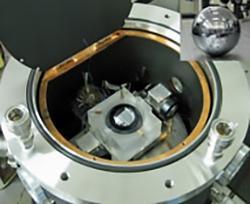 写真1 産総研で開発したシリコン単結晶球体の形状を高い精度で測定するレーザー干渉計(産総研提供)