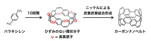 図2 カーボンナノベルトの合成経路の概略図(名古屋大学研究グループ提供)