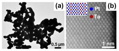 ナノ粒子の透過顕微鏡写真。ナノ粒子の内部にはタンタル原子とプラチナ原子が整列している。提供:NIMS