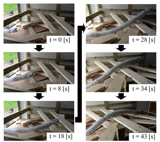 写真2 開発されたヘビ型ロボットが実験用の木片がれき環境を乗り越える様子。移動開始時から43秒間の移動の様子が分かる(東北大学など研究グループ提供)