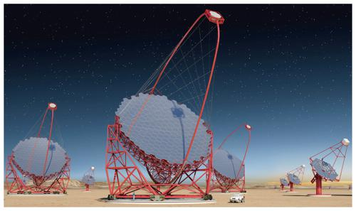 CTA(Cherenkov Telescope Array) 完成予想図。中央に大口径望遠鏡が設置され、その周辺に中口径、小口径望遠鏡が配置され、10ギガ電子ボルト(ギガは10億)から100テラ電子ボルト領域の宇宙ガンマ線を観測する。