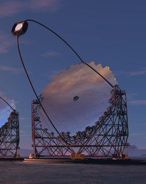 CTA大口径望遠鏡。23m口径の主鏡。日本、ドイツ、フランス、スペインのグループが主に開発を進めてきた。日本の研究グループは望遠鏡主鏡部分、カメラ、光センサー、回路を担当している。