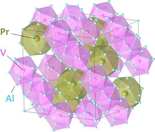 写真. 新しい超伝導体のPrV2Al20の結晶構造