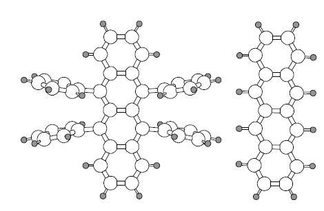 有機半導体のルブレン(左)とテトラセン(右)の分子構造