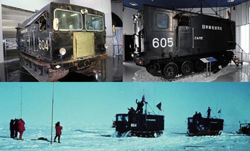 雪上車KD604とKD605。日本の南極観測史上、最初で最後となる極点往復プロジェクトで、1968年12月19日南極点に到達した雪上車3台のうち2台。下は、南極点に到着した雪上車