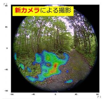 新カメラで3分間撮影した福島県浪江町の放射線核種のスポット状集積の例