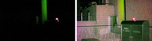 今回のカラー暗視カメラによる夜間屋外撮影例