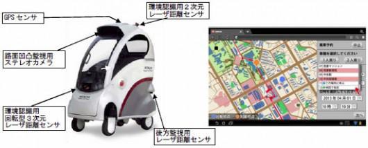 搭乗型移動支援ロボット「ROPITS」と、携帯端末予約用画面の例
