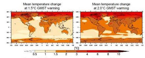 画像2 産業革命以降の気温上昇が1.5度と2度の場合の世界各地の平均気温変化予想。 2度の場合は北半球の高緯度地域や北極周辺の気温変化(上昇)が際立っている(IPCC提供)