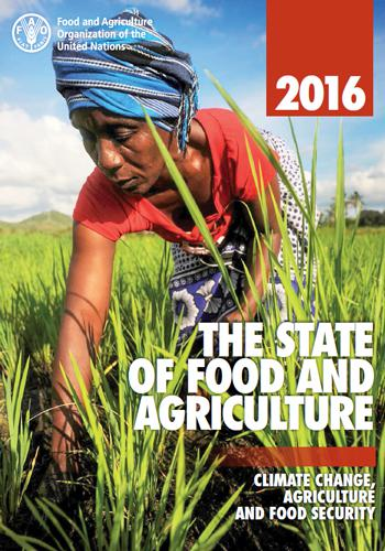 FAO報告書「2016 THE STATE OF FOOD AND AGRICULTURE」の表紙(FAO提供)