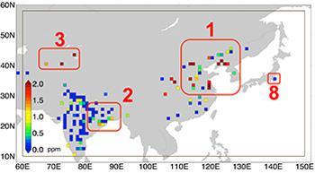 図1 「いぶき」が2009年6月から14年12月までの間に観測したデータを基に明らかになった世界の都市の人為的CO2の高濃度領域。小さい四角が都市で色は濃度を示す。番号は、1は中国のハルビンや天津など、2はコルカタ、3はウズベキスタン、5はピッツバーグ、6はロサンゼルス、7はアカプルコ、8は東京(JAXA・国立環境研究所提供)