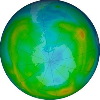 画像 米航空宇宙局(NASA)が公開している2016年6月28日のオゾン層の状態。はっきりりとしたオゾンホールはみられない(NASA提供)