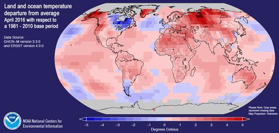 図 「2016年4月の世界各地の気温、海面温度」と1981〜2010年の平均気温、海面温度との差。赤色系は平均より高く、青色系は低いことを示す。赤、青の濃度は温度差の高低(セ氏)を示し、気温、海面温度とも過去平均より上昇している地域が多いことが分かる(NOAA提供) 関連リンク