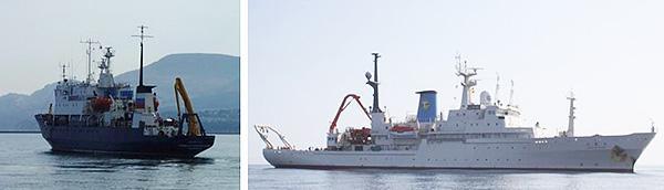 観測に使用したプロフェッサー・マルタノフスキー号(左)と白鳳丸(北海道大学提供)