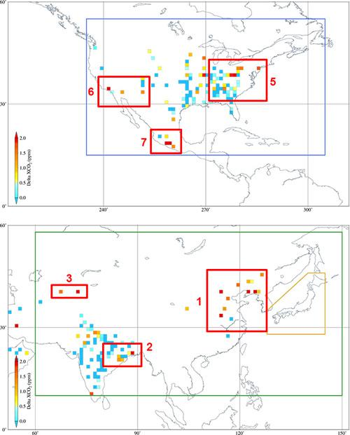「いぶき」が3年半で観測した高濃度の人為起源CO2の領域、色は濃度を示す
