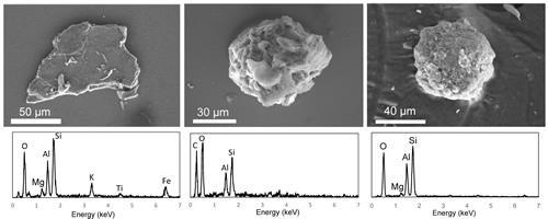 放射性微粒子の電子顕微鏡像(上)とそこから放出されるX線が示す微粒子の化学組成(下)。左から順に風化黒雲母の鉱物粒子、有機物が主体で小さな鉱物粒子を含む粒子、細かい鉱物粒子の集合体(土壌団粒)。どれも放射性セシウムを固定している実体は風化黒雲母とみられる。