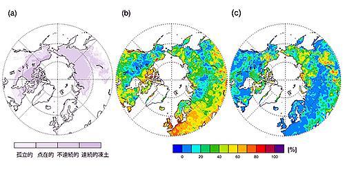 北半球の凍土の分布図(a)、1971?2009年における3.6mの地温変動に対する気温(b)と積雪(c)の各寄与率を示したもの。北極域のうち、特に東シベリアとアラスカにおいて地温に対する積雪量の寄与率が気温を上回ることがわかる。