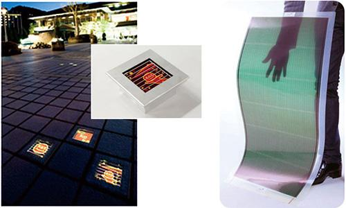 (左)日本写真印刷(株)が開発した「デザインソーラーランタン」(京都市国際交流会館) 、 (右)三菱化学(株)が開発した「発電するサンシェード」