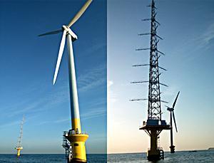 銚子沖で実証運転を開始した洋上風車(左)と 洋上風況観測タワー(右)