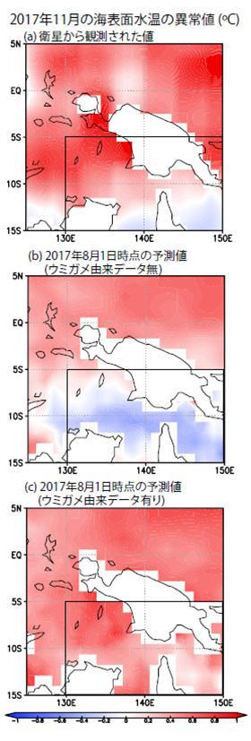 2017年11月の海表面水温の異常値(℃)をあらわしている。より赤(青)色ほど水温が平年より異常に高(低)いことを示す。8月1日時点の観測データを入力し、3ヶ月後の11月の水温を予測した。 (a)は衛星から観測された11月の実測値。(b)はヒメウミガメのデータを入れなかった予測値。(c)はヒメウミガメの観測データを入れた予測値。 黒線で囲った海域の水温予測は、ヒメウミガメの観測データを入れた(c)の方が、データを入れていない(b)よりも、高精度に予測し実測値(a)に近づいた。(土井威志研究員提供)