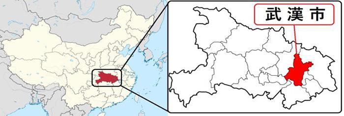 中国・湖北省武漢市の地図(厚生労働省提供)