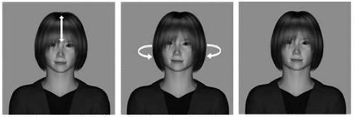 図 実験で使った顔の例。正面を向いている顔(右)をもとに「うなずき」(左)、「首振り」(中)の動画を作り、この3種類をモニター画面で見せて印象を聞いた。(大杉さんら研究グループ提供)