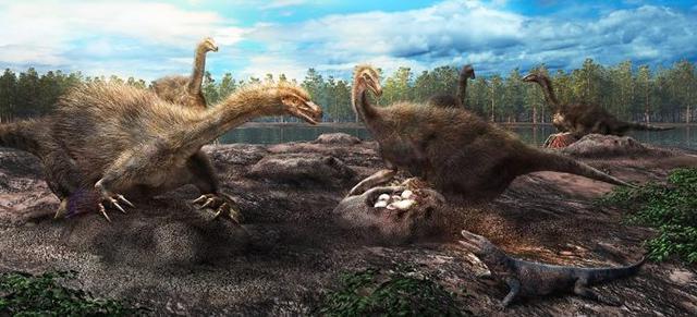 テリジノサウルス類恐竜の集団営巣の復元図(服部雅人氏提供)