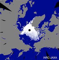 北極海の海氷面積が観測史上最小に(8月15日)