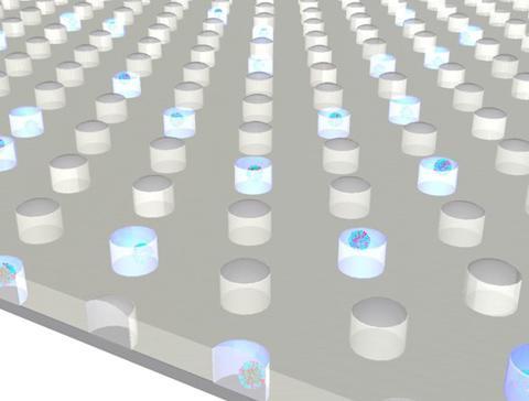 1平方センチメートルに微小容器が60万個も並ぶ「デジタルインフルエンザ検出法」の拡大イメージ(提供・東京大学/東京大学の研究グループ)