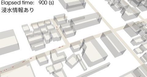 図2 図1と同じだが、津波で浸水すると予想される場所にいた人だけが避難した場合。人はまばらで、スムーズに避難できる。