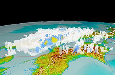 画像1 西日本豪雨で防災科学技術研究所が作成した3次元データによる7月6日午後8時の中国、四国地方の雨雲の様子(提供・防災科学技術研究所)