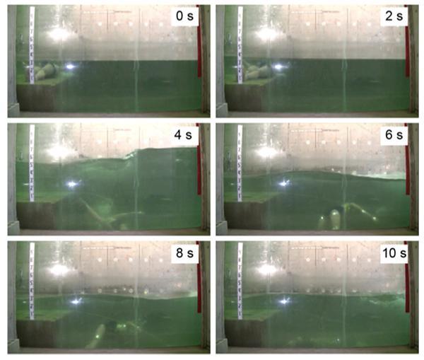 写真2 津波が到達してから2秒ごとの、ライフジャケットを着ていない人形の動き。底に沈んでから上下に動き、ふたたび水面には現れなかった。(論文より)