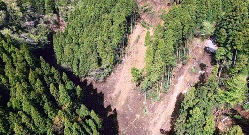 写真 国土地理院が「ドローン」で4月17日撮影した熊本県・南阿蘇村大字長野の土砂災害現場(国土地理院提供)