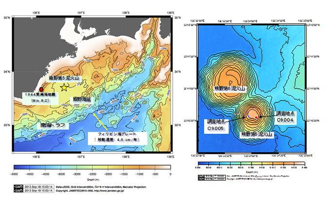 南海トラフの熊野海盆第5泥火山の位置(左)と、その周辺の詳細な海底地形図(右)