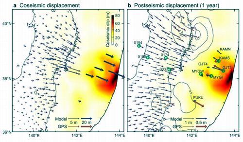 2011年東北地方太平洋沖地震に伴う地殻変動。左は 地震時の変動。右は 地震後1年間の変動。赤矢印は観測された水平変動ベクトル、黒矢印はモデルから予測された値。陸上の観測は国土地理院、GJT3以外の海底観測は海上保安庁による。