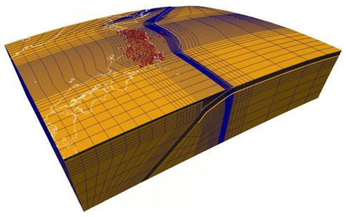 2011年東北地方太平洋沖地震後の地殻変動のシミュレーションに用いた地下構造モデル。地表の赤色シンボルは地殻変動の評価を行った観測地点。