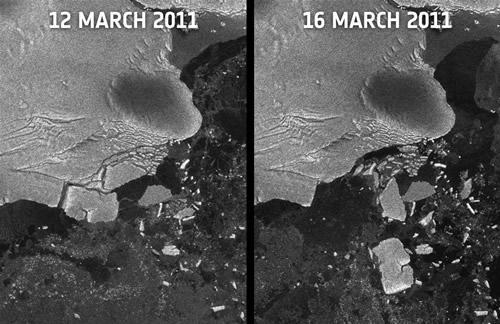 日本の津波で破壊された南極の氷