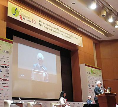 科学技術振興機構(JST)と日本学術会議などが主催して2017年5月25日に東京都内で開かれた「ジェンダーサミット10」の開会セッション