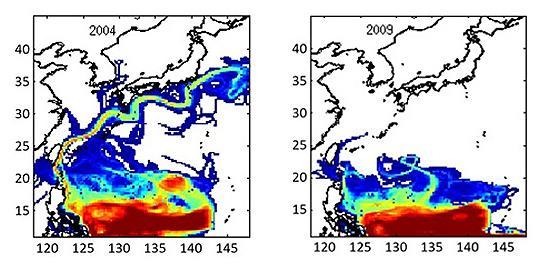 図2 研究グループによる子ウナギの数の計算結果。5〜7月に生まれた子ウナギが、翌年1月時点でどの海域に多いかを示している。赤が多く、緑、青となるにしたがって少ない。2004年に生まれた子ウナギ(左)は、黒潮に乗って日本沿岸に到達しているが、2009年は西向きの北赤道海流がやや南に下がっており、シラスウナギはほとんど日本に来なかった。(宮澤さんら研究グループ提供)