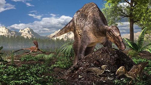 図1 北極圏で巣を作る恐竜たちの想像図。手前には盛り土に卵を埋めるハドロサウルス類の恐竜が、奥には卵を抱いて温めるトロオドン科の恐竜が見える。(服部雅人氏提供、図はいずれもプレスリリースより)