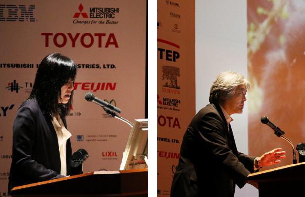 写真4 講演する浅川 智恵子 氏(左)、写真5 講演する山極寿一 氏(右)