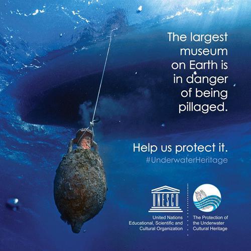 図6.水中文化遺産に対するUNESCOの方針をアピールするポスター(画像提供:UNESCO)
