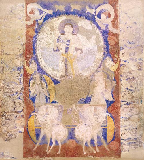 写真 バーミヤン東大仏天井壁画「天翔る太陽神」破壊前復元 2016年制作(展示されたクローン文化財)
